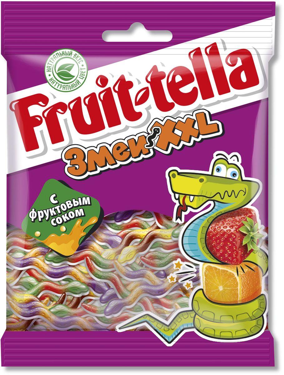Fruittella Змеи XXL жевательный мармелад, 70 г0120710Сочные жевательные конфеты и мармелад Fruit-tella дарят детям и взрослым всю радугу цветов и вкусов: от апельсина и яблока до черной смородины и клубники! Они изготовлены по уникальной рецептуре с использованием только натуральных компонентов – фруктов, овощей и фруктовых соков!