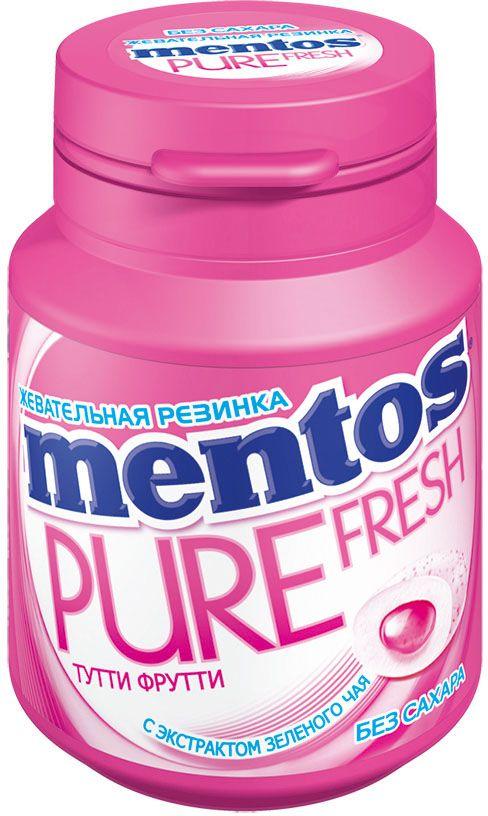 Ментос Pure Fresh Tutti-Frutti жевательная резинка, 54 г0120710Сочная жевательная резинка с жидким центром внутри и экстрактом зеленого чая, в удобном формате банки. 36 драже в банке.