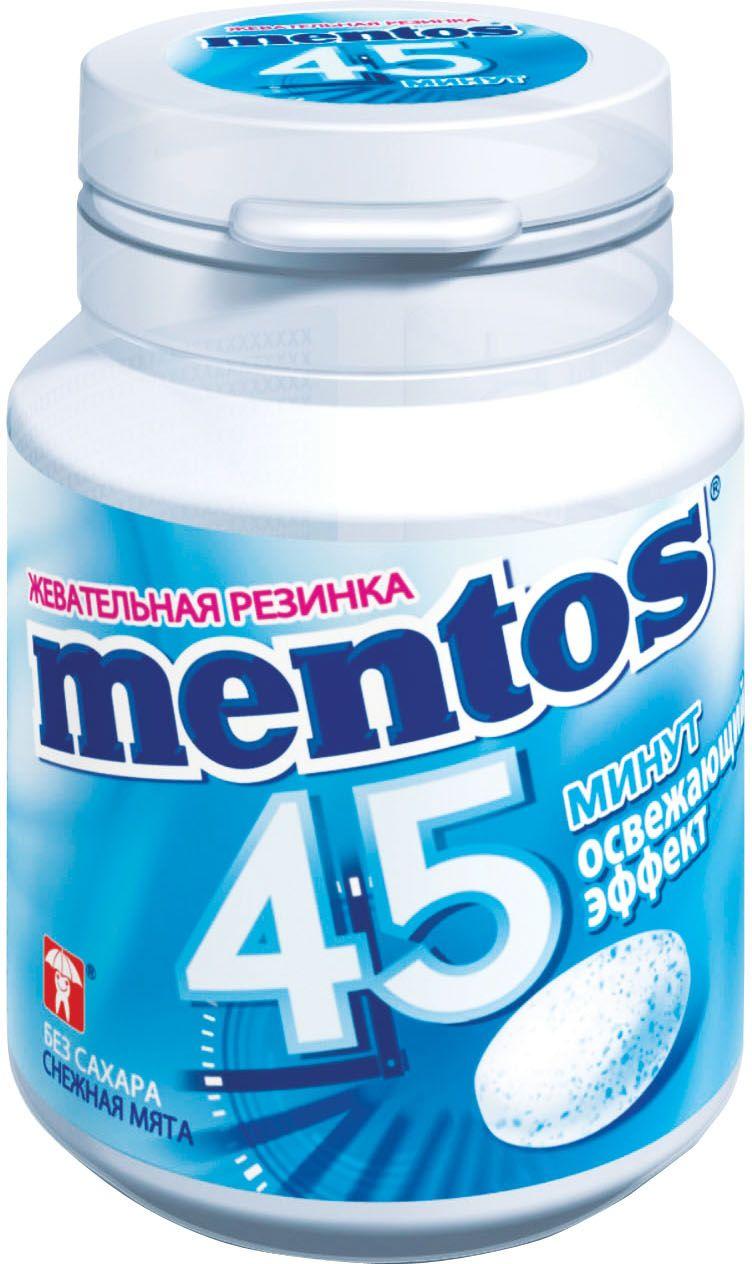 Mentos Снежная мята жевательная резинка, 45 г0120710Жевательная резинка Mentos с освежающим эффектом Снежная мята - незабываемое удовольствие в течение 45 минут. Проверено! 30 драже в банке.