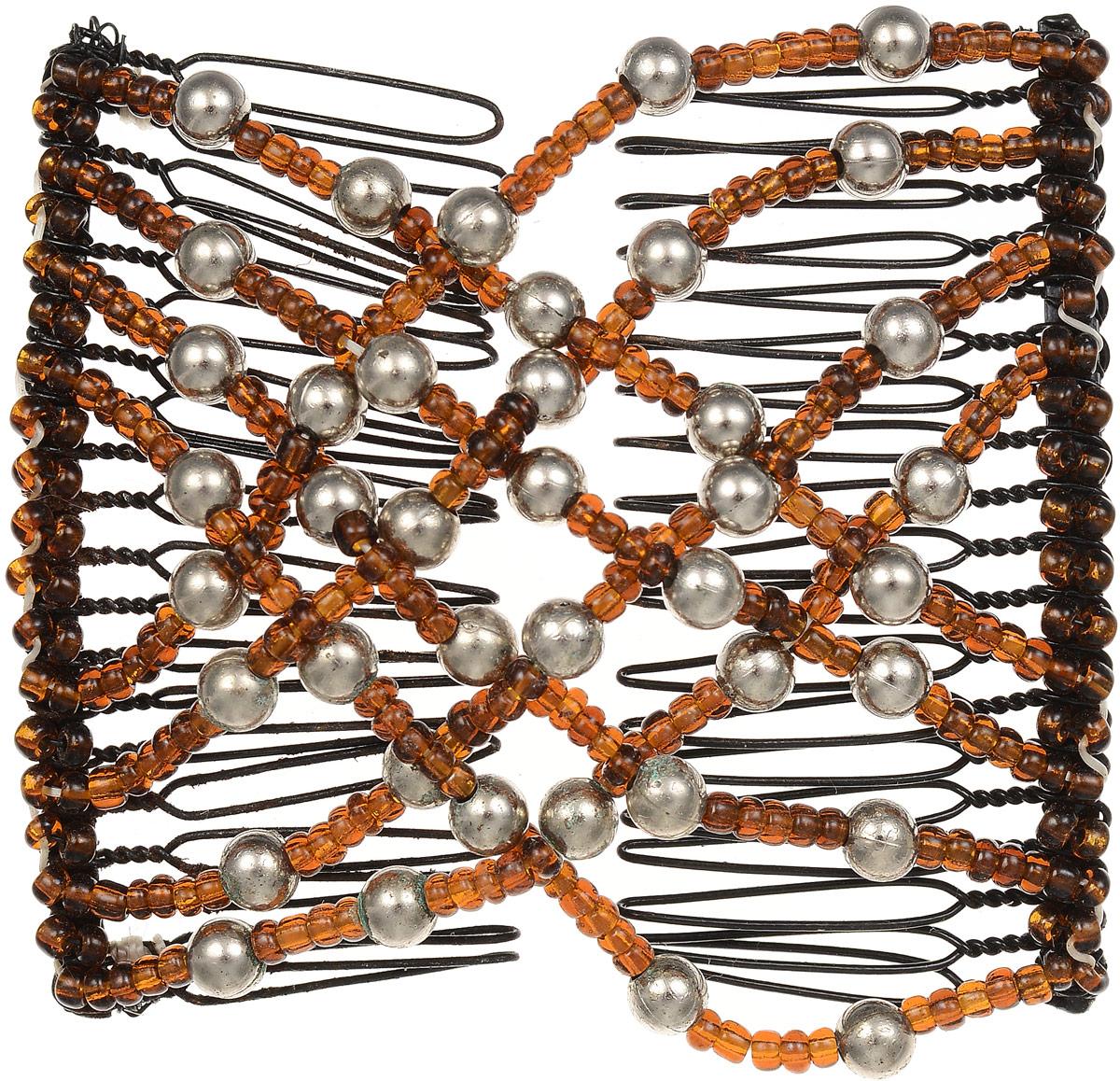 EZ-Combs Заколка Изи-Комбс, одинарная, цвет: коричневый, серебристый. ЗИО373924Удобная и практичная EZ-Combs подходит для любого типа волос: тонких, жестких, вьющихся или прямых, и не наносит им никакого вреда. Заколка не мешает движениям головы и не создает дискомфорта, когда вы отдыхаете или управляете автомобилем. Каждый гребень имеет по 20 зубьев для надежной фиксации заколки на волосах! И даже во время бега и интенсивных тренировок в спортзале EZ-Combs не падает; она прочно фиксирует прическу, сохраняя укладку в первозданном виде.Небольшая и легкая заколка для волос EZ-Combs поместится в любой дамской сумочке, позволяя быстро и без особых усилий создавать неповторимые прически там, где вам это удобно. Гребень прекрасно сочетается с любой одеждой: будь это классический или спортивный стиль, завершая гармоничный облик современной леди. И неважно, какой образ жизни вы ведете, если у вас есть EZ-Combs, вы всегда будете выглядеть потрясающе.