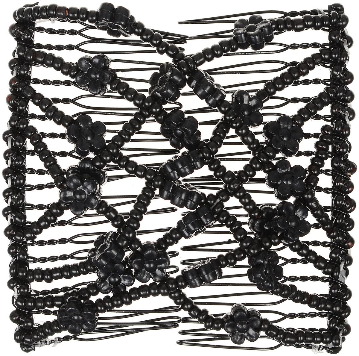 EZ-Combs Заколка Изи-Комбс, одинарная, цвет: черный. ЗИО_цветочкиЗИО_черный, цветочкиУдобная и практичная EZ-Combs подходит для любого типа волос: тонких, жестких, вьющихся или прямых, и не наносит им никакого вреда. Заколка не мешает движениям головы и не создает дискомфорта, когда вы отдыхаете или управляете автомобилем. Каждый гребень имеет по 20 зубьев для надежной фиксации заколки на волосах! И даже во время бега и интенсивных тренировок в спортзале EZ-Combs не падает; она прочно фиксирует прическу, сохраняя укладку в первозданном виде.Небольшая и легкая заколка для волос EZ-Combs поместится в любой дамской сумочке, позволяя быстро и без особых усилий создавать неповторимые прически там, где вам это удобно. Гребень прекрасно сочетается с любой одеждой: будь это классический или спортивный стиль, завершая гармоничный облик современной леди. И неважно, какой образ жизни вы ведете, если у вас есть EZ-Combs, вы всегда будете выглядеть потрясающе.