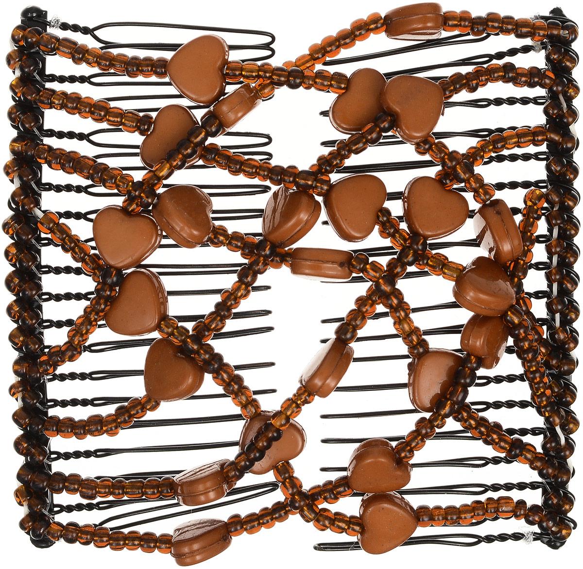 EZ-Combs Заколка Изи-Комбс, одинарная, цвет: коричневый. ЗИО_сердечкиSatin Hair 7 BR730MNУдобная и практичная EZ-Combs подходит для любого типа волос: тонких, жестких, вьющихся или прямых, и не наносит им никакого вреда. Заколка не мешает движениям головы и не создает дискомфорта, когда вы отдыхаете или управляете автомобилем. Каждый гребень имеет по 20 зубьев для надежной фиксации заколки на волосах! И даже во время бега и интенсивных тренировок в спортзале EZ-Combs не падает; она прочно фиксирует прическу, сохраняя укладку в первозданном виде.Небольшая и легкая заколка для волос EZ-Combs поместится в любой дамской сумочке, позволяя быстро и без особых усилий создавать неповторимые прически там, где вам это удобно. Гребень прекрасно сочетается с любой одеждой: будь это классический или спортивный стиль, завершая гармоничный облик современной леди. И неважно, какой образ жизни вы ведете, если у вас есть EZ-Combs, вы всегда будете выглядеть потрясающе.