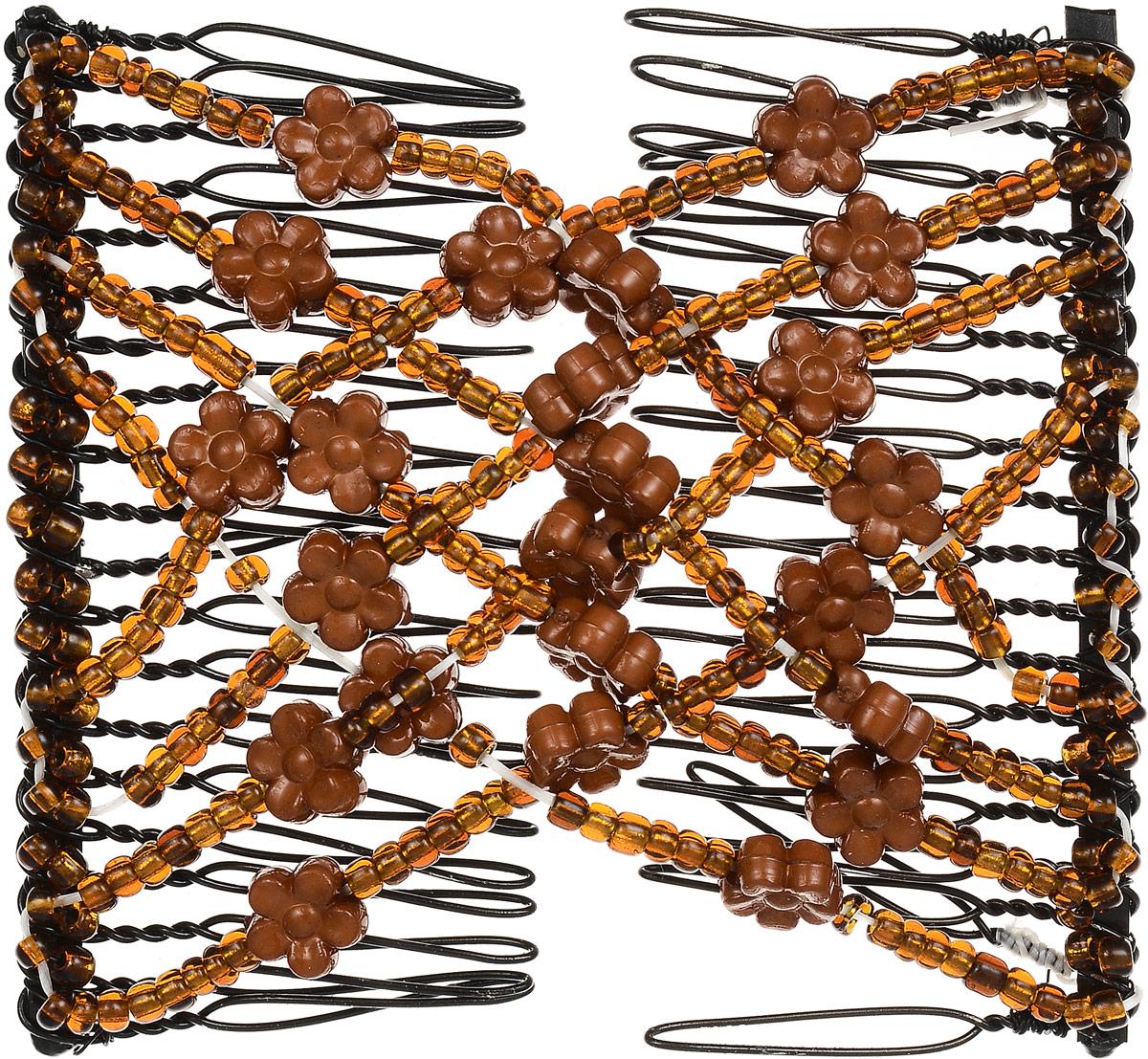 EZ-Combs Заколка Изи-Комбс, одинарная, цвет: коричневый. ЗИО_цветочкиCDB 606Удобная и практичная EZ-Combs подходит для любого типа волос: тонких, жестких, вьющихся или прямых, и не наносит им никакого вреда. Заколка не мешает движениям головы и не создает дискомфорта, когда вы отдыхаете или управляете автомобилем. Каждый гребень имеет по 20 зубьев для надежной фиксации заколки на волосах! И даже во время бега и интенсивных тренировок в спортзале EZ-Combs не падает; она прочно фиксирует прическу, сохраняя укладку в первозданном виде.Небольшая и легкая заколка для волос EZ-Combs поместится в любой дамской сумочке, позволяя быстро и без особых усилий создавать неповторимые прически там, где вам это удобно. Гребень прекрасно сочетается с любой одеждой: будь это классический или спортивный стиль, завершая гармоничный облик современной леди. И неважно, какой образ жизни вы ведете, если у вас есть EZ-Combs, вы всегда будете выглядеть потрясающе.