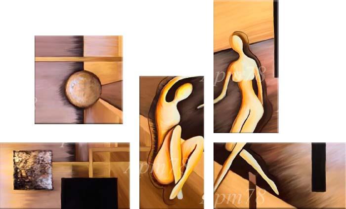 Картина Арт78 Призрачные фигуры, модульная, 200 см х 120 см. арт780008NI 16Ничто так не облагораживает интерьер, как хорошая картина. Особенную атмосферу создаст крупное художественное полотно, размеры которого более метра. Подобные произведения искусства, выполненные в традиционной технике (холст, масляные краски), чрезвычайно капризны: требуют сложного ухода, регулярной реставрации, особого микроклимата – поэтому они просто не могут существовать в условиях обычной городской квартиры или загородного коттеджа, и требуют больших затрат. Данное полотно идеально приспособлено для создания изысканной обстановки именно у Вас. Это полотно создано с использованием как традиционных натуральных материалов (холст, подрамник - сосна), так и материалов нового поколения – краски, фактурный гель (придающий картине внешний вид масляной живописи, и защищающий ее от внешнего воздействия). Благодаря такой композиции, картина выглядит абсолютно естественно, и отличить ее от традиционной техники может только специалист. Но при этом изображение отлично смотрится с любого расстояния, под любым углом и при любом освещении. Картина не выцветает, хорошо переносит даже повышенный уровень влажности. При необходимости ее можно протереть сухой салфеткой из мягкой ткани.