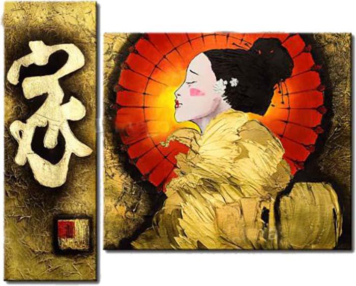 Картина Арт78 Гейша, модульная, 90 см х 60 см. арт780011-3PM-4029Ничто так не облагораживает интерьер, как хорошая картина. Особенную атмосферу создаст крупное художественное полотно, размеры которого более метра. Подобные произведения искусства, выполненные в традиционной технике (холст, масляные краски), чрезвычайно капризны: требуют сложного ухода, регулярной реставрации, особого микроклимата – поэтому они просто не могут существовать в условиях обычной городской квартиры или загородного коттеджа, и требуют больших затрат. Данное полотно идеально приспособлено для создания изысканной обстановки именно у Вас. Это полотно создано с использованием как традиционных натуральных материалов (холст, подрамник - сосна), так и материалов нового поколения – краски, фактурный гель (придающий картине внешний вид масляной живописи, и защищающий ее от внешнего воздействия). Благодаря такой композиции, картина выглядит абсолютно естественно, и отличить ее от традиционной техники может только специалист. Но при этом изображение отлично смотрится с любого расстояния, под любым углом и при любом освещении. Картина не выцветает, хорошо переносит даже повышенный уровень влажности. При необходимости ее можно протереть сухой салфеткой из мягкой ткани.