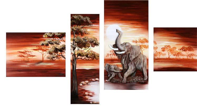 Картина Арт78 Слоники, модульная, 135 см х 90 см. арт780012-2CT3-09Ничто так не облагораживает интерьер, как хорошая картина. Особенную атмосферу создаст крупное художественное полотно, размеры которого более метра. Подобные произведения искусства, выполненные в традиционной технике (холст, масляные краски), чрезвычайно капризны: требуют сложного ухода, регулярной реставрации, особого микроклимата – поэтому они просто не могут существовать в условиях обычной городской квартиры или загородного коттеджа, и требуют больших затрат. Данное полотно идеально приспособлено для создания изысканной обстановки именно у Вас. Это полотно создано с использованием как традиционных натуральных материалов (холст, подрамник - сосна), так и материалов нового поколения – краски, фактурный гель (придающий картине внешний вид масляной живописи, и защищающий ее от внешнего воздействия). Благодаря такой композиции, картина выглядит абсолютно естественно, и отличить ее от традиционной техники может только специалист. Но при этом изображение отлично смотрится с любого расстояния, под любым углом и при любом освещении. Картина не выцветает, хорошо переносит даже повышенный уровень влажности. При необходимости ее можно протереть сухой салфеткой из мягкой ткани.