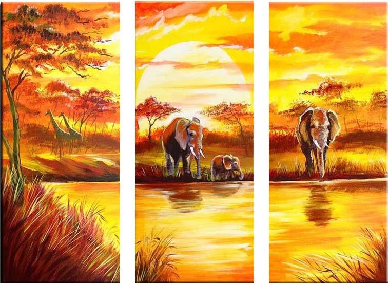 Картина Арт78 Водопой, модульная, 80 см х 60 см. арт780013-3PM-3012Ничто так не облагораживает интерьер, как хорошая картина. Особенную атмосферу создаст крупное художественное полотно, размеры которого более метра. Подобные произведения искусства, выполненные в традиционной технике (холст, масляные краски), чрезвычайно капризны: требуют сложного ухода, регулярной реставрации, особого микроклимата – поэтому они просто не могут существовать в условиях обычной городской квартиры или загородного коттеджа, и требуют больших затрат. Данное полотно идеально приспособлено для создания изысканной обстановки именно у Вас. Это полотно создано с использованием как традиционных натуральных материалов (холст, подрамник - сосна), так и материалов нового поколения – краски, фактурный гель (придающий картине внешний вид масляной живописи, и защищающий ее от внешнего воздействия). Благодаря такой композиции, картина выглядит абсолютно естественно, и отличить ее от традиционной техники может только специалист. Но при этом изображение отлично смотрится с любого расстояния, под любым углом и при любом освещении. Картина не выцветает, хорошо переносит даже повышенный уровень влажности. При необходимости ее можно протереть сухой салфеткой из мягкой ткани.