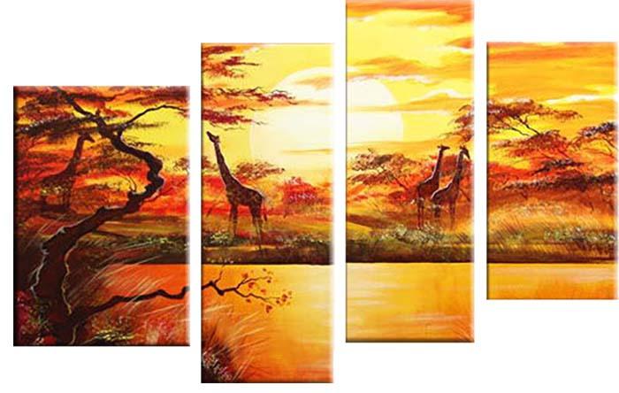 Картина Арт78 Жирафы, модульная, 90 см х 60 см. арт780014-3CT3-55Ничто так не облагораживает интерьер, как хорошая картина. Особенную атмосферу создаст крупное художественное полотно, размеры которого более метра. Подобные произведения искусства, выполненные в традиционной технике (холст, масляные краски), чрезвычайно капризны: требуют сложного ухода, регулярной реставрации, особого микроклимата – поэтому они просто не могут существовать в условиях обычной городской квартиры или загородного коттеджа, и требуют больших затрат. Данное полотно идеально приспособлено для создания изысканной обстановки именно у Вас. Это полотно создано с использованием как традиционных натуральных материалов (холст, подрамник - сосна), так и материалов нового поколения – краски, фактурный гель (придающий картине внешний вид масляной живописи, и защищающий ее от внешнего воздействия). Благодаря такой композиции, картина выглядит абсолютно естественно, и отличить ее от традиционной техники может только специалист. Но при этом изображение отлично смотрится с любого расстояния, под любым углом и при любом освещении. Картина не выцветает, хорошо переносит даже повышенный уровень влажности. При необходимости ее можно протереть сухой салфеткой из мягкой ткани.