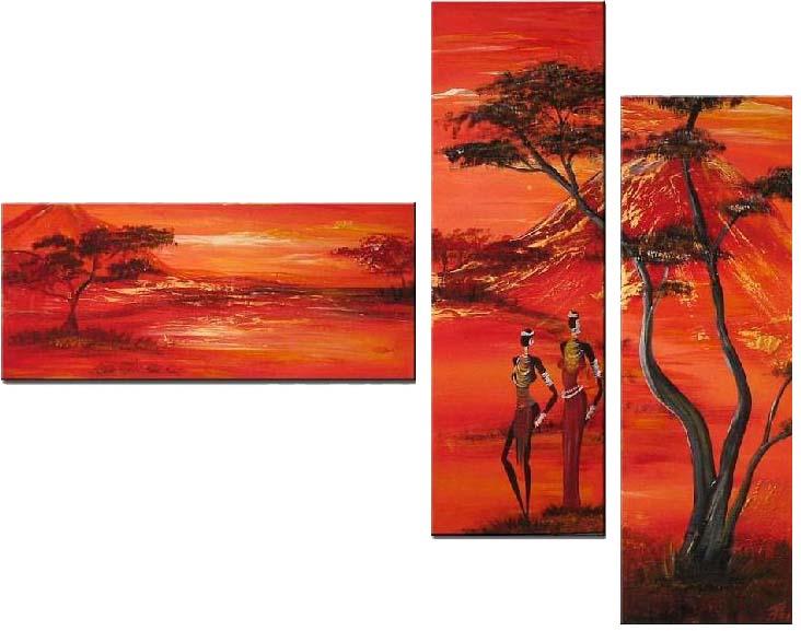 Картина Арт78 Африканцы, модульная, 90 см х 60 см. арт780016-3PM-4024Ничто так не облагораживает интерьер, как хорошая картина. Особенную атмосферу создаст крупное художественное полотно, размеры которого более метра. Подобные произведения искусства, выполненные в традиционной технике (холст, масляные краски), чрезвычайно капризны: требуют сложного ухода, регулярной реставрации, особого микроклимата – поэтому они просто не могут существовать в условиях обычной городской квартиры или загородного коттеджа, и требуют больших затрат. Данное полотно идеально приспособлено для создания изысканной обстановки именно у Вас. Это полотно создано с использованием как традиционных натуральных материалов (холст, подрамник - сосна), так и материалов нового поколения – краски, фактурный гель (придающий картине внешний вид масляной живописи, и защищающий ее от внешнего воздействия). Благодаря такой композиции, картина выглядит абсолютно естественно, и отличить ее от традиционной техники может только специалист. Но при этом изображение отлично смотрится с любого расстояния, под любым углом и при любом освещении. Картина не выцветает, хорошо переносит даже повышенный уровень влажности. При необходимости ее можно протереть сухой салфеткой из мягкой ткани.