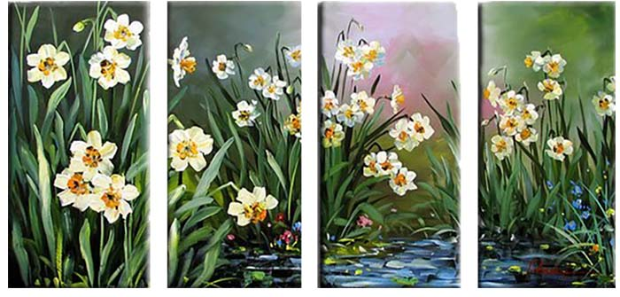 Картина Арт78 Нарциссы, модульная, 125 см х 90 см. арт780018-2арт780015-3Ничто так не облагораживает интерьер, как хорошая картина. Особенную атмосферу создаст крупное художественное полотно, размеры которого более метра. Подобные произведения искусства, выполненные в традиционной технике (холст, масляные краски), чрезвычайно капризны: требуют сложного ухода, регулярной реставрации, особого микроклимата – поэтому они просто не могут существовать в условиях обычной городской квартиры или загородного коттеджа, и требуют больших затрат. Данное полотно идеально приспособлено для создания изысканной обстановки именно у Вас. Это полотно создано с использованием как традиционных натуральных материалов (холст, подрамник - сосна), так и материалов нового поколения – краски, фактурный гель (придающий картине внешний вид масляной живописи, и защищающий ее от внешнего воздействия). Благодаря такой композиции, картина выглядит абсолютно естественно, и отличить ее от традиционной техники может только специалист. Но при этом изображение отлично смотрится с любого расстояния, под любым углом и при любом освещении. Картина не выцветает, хорошо переносит даже повышенный уровень влажности. При необходимости ее можно протереть сухой салфеткой из мягкой ткани.