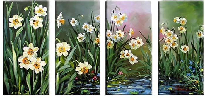 Картина Арт78 Нарциссы, модульная, 170 см х 120 см. арт780018арт780015-3Ничто так не облагораживает интерьер, как хорошая картина. Особенную атмосферу создаст крупное художественное полотно, размеры которого более метра. Подобные произведения искусства, выполненные в традиционной технике (холст, масляные краски), чрезвычайно капризны: требуют сложного ухода, регулярной реставрации, особого микроклимата – поэтому они просто не могут существовать в условиях обычной городской квартиры или загородного коттеджа, и требуют больших затрат. Данное полотно идеально приспособлено для создания изысканной обстановки именно у Вас. Это полотно создано с использованием как традиционных натуральных материалов (холст, подрамник - сосна), так и материалов нового поколения – краски, фактурный гель (придающий картине внешний вид масляной живописи, и защищающий ее от внешнего воздействия). Благодаря такой композиции, картина выглядит абсолютно естественно, и отличить ее от традиционной техники может только специалист. Но при этом изображение отлично смотрится с любого расстояния, под любым углом и при любом освещении. Картина не выцветает, хорошо переносит даже повышенный уровень влажности. При необходимости ее можно протереть сухой салфеткой из мягкой ткани.