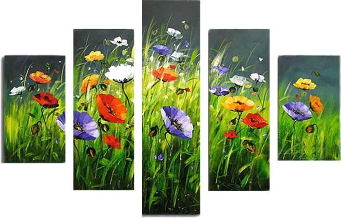 Картина Арт78 Разноцветные маки, модульная, 90 см х 50 см. арт780019-312723Ничто так не облагораживает интерьер, как хорошая картина. Особенную атмосферу создаст крупное художественное полотно, размеры которого более метра. Подобные произведения искусства, выполненные в традиционной технике (холст, масляные краски), чрезвычайно капризны: требуют сложного ухода, регулярной реставрации, особого микроклимата – поэтому они просто не могут существовать в условиях обычной городской квартиры или загородного коттеджа, и требуют больших затрат. Данное полотно идеально приспособлено для создания изысканной обстановки именно у Вас. Это полотно создано с использованием как традиционных натуральных материалов (холст, подрамник - сосна), так и материалов нового поколения – краски, фактурный гель (придающий картине внешний вид масляной живописи, и защищающий ее от внешнего воздействия). Благодаря такой композиции, картина выглядит абсолютно естественно, и отличить ее от традиционной техники может только специалист. Но при этом изображение отлично смотрится с любого расстояния, под любым углом и при любом освещении. Картина не выцветает, хорошо переносит даже повышенный уровень влажности. При необходимости ее можно протереть сухой салфеткой из мягкой ткани.