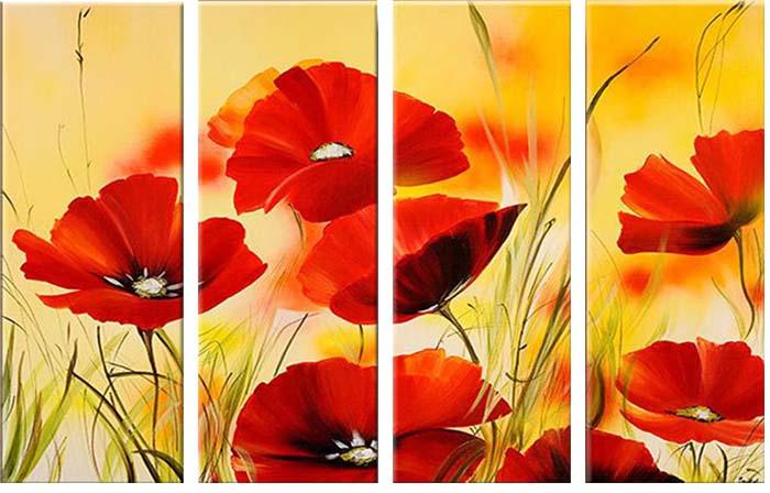 Картина Арт78 Маки, модульная, 130 см х 80 см. арт780022-2PM-6002Ничто так не облагораживает интерьер, как хорошая картина. Особенную атмосферу создаст крупное художественное полотно, размеры которого более метра. Подобные произведения искусства, выполненные в традиционной технике (холст, масляные краски), чрезвычайно капризны: требуют сложного ухода, регулярной реставрации, особого микроклимата – поэтому они просто не могут существовать в условиях обычной городской квартиры или загородного коттеджа, и требуют больших затрат. Данное полотно идеально приспособлено для создания изысканной обстановки именно у Вас. Это полотно создано с использованием как традиционных натуральных материалов (холст, подрамник - сосна), так и материалов нового поколения – краски, фактурный гель (придающий картине внешний вид масляной живописи, и защищающий ее от внешнего воздействия). Благодаря такой композиции, картина выглядит абсолютно естественно, и отличить ее от традиционной техники может только специалист. Но при этом изображение отлично смотрится с любого расстояния, под любым углом и при любом освещении. Картина не выцветает, хорошо переносит даже повышенный уровень влажности. При необходимости ее можно протереть сухой салфеткой из мягкой ткани.
