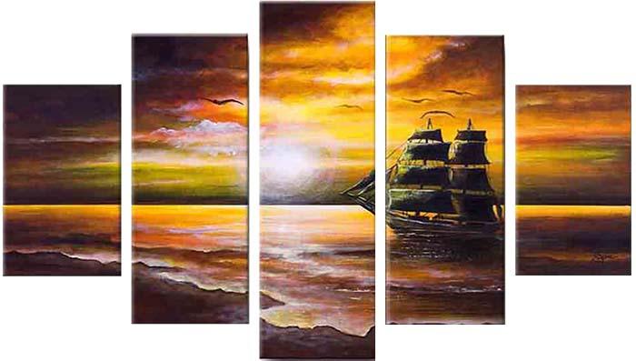 Картина Арт78 Закат на море, модульная, 200 см х 120 см. арт780023SA-3002Ничто так не облагораживает интерьер, как хорошая картина. Особенную атмосферу создаст крупное художественное полотно, размеры которого более метра. Подобные произведения искусства, выполненные в традиционной технике (холст, масляные краски), чрезвычайно капризны: требуют сложного ухода, регулярной реставрации, особого микроклимата – поэтому они просто не могут существовать в условиях обычной городской квартиры или загородного коттеджа, и требуют больших затрат. Данное полотно идеально приспособлено для создания изысканной обстановки именно у Вас. Это полотно создано с использованием как традиционных натуральных материалов (холст, подрамник - сосна), так и материалов нового поколения – краски, фактурный гель (придающий картине внешний вид масляной живописи, и защищающий ее от внешнего воздействия). Благодаря такой композиции, картина выглядит абсолютно естественно, и отличить ее от традиционной техники может только специалист. Но при этом изображение отлично смотрится с любого расстояния, под любым углом и при любом освещении. Картина не выцветает, хорошо переносит даже повышенный уровень влажности. При необходимости ее можно протереть сухой салфеткой из мягкой ткани.