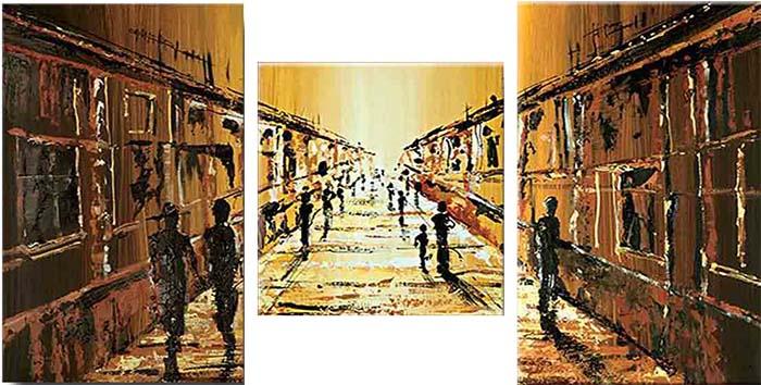 Картина Арт78 Улица, модульная, 100 см х 60 см. арт780025-3PC 1133Ничто так не облагораживает интерьер, как хорошая картина. Особенную атмосферу создаст крупное художественное полотно, размеры которого более метра. Подобные произведения искусства, выполненные в традиционной технике (холст, масляные краски), чрезвычайно капризны: требуют сложного ухода, регулярной реставрации, особого микроклимата – поэтому они просто не могут существовать в условиях обычной городской квартиры или загородного коттеджа, и требуют больших затрат. Данное полотно идеально приспособлено для создания изысканной обстановки именно у Вас. Это полотно создано с использованием как традиционных натуральных материалов (холст, подрамник - сосна), так и материалов нового поколения – краски, фактурный гель (придающий картине внешний вид масляной живописи, и защищающий ее от внешнего воздействия). Благодаря такой композиции, картина выглядит абсолютно естественно, и отличить ее от традиционной техники может только специалист. Но при этом изображение отлично смотрится с любого расстояния, под любым углом и при любом освещении. Картина не выцветает, хорошо переносит даже повышенный уровень влажности. При необходимости ее можно протереть сухой салфеткой из мягкой ткани.