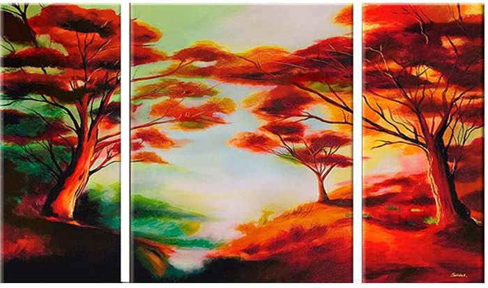 Картина Арт78 Лес, модульная, 160 см х 80 см. арт780026SA-3002Ничто так не облагораживает интерьер, как хорошая картина. Особенную атмосферу создаст крупное художественное полотно, размеры которого более метра. Подобные произведения искусства, выполненные в традиционной технике (холст, масляные краски), чрезвычайно капризны: требуют сложного ухода, регулярной реставрации, особого микроклимата – поэтому они просто не могут существовать в условиях обычной городской квартиры или загородного коттеджа, и требуют больших затрат. Данное полотно идеально приспособлено для создания изысканной обстановки именно у Вас. Это полотно создано с использованием как традиционных натуральных материалов (холст, подрамник - сосна), так и материалов нового поколения – краски, фактурный гель (придающий картине внешний вид масляной живописи, и защищающий ее от внешнего воздействия). Благодаря такой композиции, картина выглядит абсолютно естественно, и отличить ее от традиционной техники может только специалист. Но при этом изображение отлично смотрится с любого расстояния, под любым углом и при любом освещении. Картина не выцветает, хорошо переносит даже повышенный уровень влажности. При необходимости ее можно протереть сухой салфеткой из мягкой ткани.
