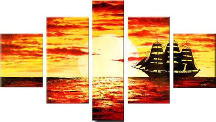Картина Арт78 Морской закат, модульная, 90 см х 50 см. арт780031-3TL-H3001Ничто так не облагораживает интерьер, как хорошая картина. Особенную атмосферу создаст крупное художественное полотно, размеры которого более метра. Подобные произведения искусства, выполненные в традиционной технике (холст, масляные краски), чрезвычайно капризны: требуют сложного ухода, регулярной реставрации, особого микроклимата – поэтому они просто не могут существовать в условиях обычной городской квартиры или загородного коттеджа, и требуют больших затрат. Данное полотно идеально приспособлено для создания изысканной обстановки именно у Вас. Это полотно создано с использованием как традиционных натуральных материалов (холст, подрамник - сосна), так и материалов нового поколения – краски, фактурный гель (придающий картине внешний вид масляной живописи, и защищающий ее от внешнего воздействия). Благодаря такой композиции, картина выглядит абсолютно естественно, и отличить ее от традиционной техники может только специалист. Но при этом изображение отлично смотрится с любого расстояния, под любым углом и при любом освещении. Картина не выцветает, хорошо переносит даже повышенный уровень влажности. При необходимости ее можно протереть сухой салфеткой из мягкой ткани.