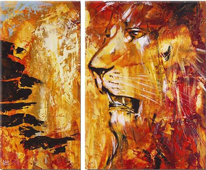 Картина Арт78 Лев, модульная, 90 см х 60 см. арт780037-312723Ничто так не облагораживает интерьер, как хорошая картина. Особенную атмосферу создаст крупное художественное полотно, размеры которого более метра. Подобные произведения искусства, выполненные в традиционной технике (холст, масляные краски), чрезвычайно капризны: требуют сложного ухода, регулярной реставрации, особого микроклимата – поэтому они просто не могут существовать в условиях обычной городской квартиры или загородного коттеджа, и требуют больших затрат. Данное полотно идеально приспособлено для создания изысканной обстановки именно у Вас. Это полотно создано с использованием как традиционных натуральных материалов (холст, подрамник - сосна), так и материалов нового поколения – краски, фактурный гель (придающий картине внешний вид масляной живописи, и защищающий ее от внешнего воздействия). Благодаря такой композиции, картина выглядит абсолютно естественно, и отличить ее от традиционной техники может только специалист. Но при этом изображение отлично смотрится с любого расстояния, под любым углом и при любом освещении. Картина не выцветает, хорошо переносит даже повышенный уровень влажности. При необходимости ее можно протереть сухой салфеткой из мягкой ткани.