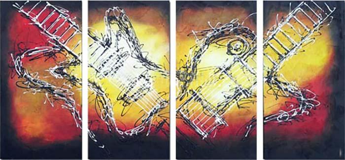 Картина Арт78 Гитары, модульная, 200 см х 100 см. арт780039NI 22Ничто так не облагораживает интерьер, как хорошая картина. Особенную атмосферу создаст крупное художественное полотно, размеры которого более метра. Подобные произведения искусства, выполненные в традиционной технике (холст, масляные краски), чрезвычайно капризны: требуют сложного ухода, регулярной реставрации, особого микроклимата – поэтому они просто не могут существовать в условиях обычной городской квартиры или загородного коттеджа, и требуют больших затрат. Данное полотно идеально приспособлено для создания изысканной обстановки именно у Вас. Это полотно создано с использованием как традиционных натуральных материалов (холст, подрамник - сосна), так и материалов нового поколения – краски, фактурный гель (придающий картине внешний вид масляной живописи, и защищающий ее от внешнего воздействия). Благодаря такой композиции, картина выглядит абсолютно естественно, и отличить ее от традиционной техники может только специалист. Но при этом изображение отлично смотрится с любого расстояния, под любым углом и при любом освещении. Картина не выцветает, хорошо переносит даже повышенный уровень влажности. При необходимости ее можно протереть сухой салфеткой из мягкой ткани.