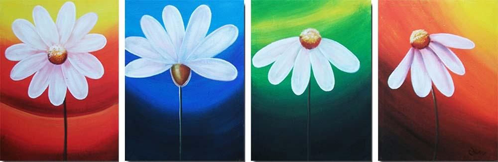 Картина Арт78 Ромашки, модульная, 200 см х 90 см. арт780042TL-M2027Ничто так не облагораживает интерьер, как хорошая картина. Особенную атмосферу создаст крупное художественное полотно, размеры которого более метра. Подобные произведения искусства, выполненные в традиционной технике (холст, масляные краски), чрезвычайно капризны: требуют сложного ухода, регулярной реставрации, особого микроклимата – поэтому они просто не могут существовать в условиях обычной городской квартиры или загородного коттеджа, и требуют больших затрат. Данное полотно идеально приспособлено для создания изысканной обстановки именно у Вас. Это полотно создано с использованием как традиционных натуральных материалов (холст, подрамник - сосна), так и материалов нового поколения – краски, фактурный гель (придающий картине внешний вид масляной живописи, и защищающий ее от внешнего воздействия). Благодаря такой композиции, картина выглядит абсолютно естественно, и отличить ее от традиционной техники может только специалист. Но при этом изображение отлично смотрится с любого расстояния, под любым углом и при любом освещении. Картина не выцветает, хорошо переносит даже повышенный уровень влажности. При необходимости ее можно протереть сухой салфеткой из мягкой ткани.