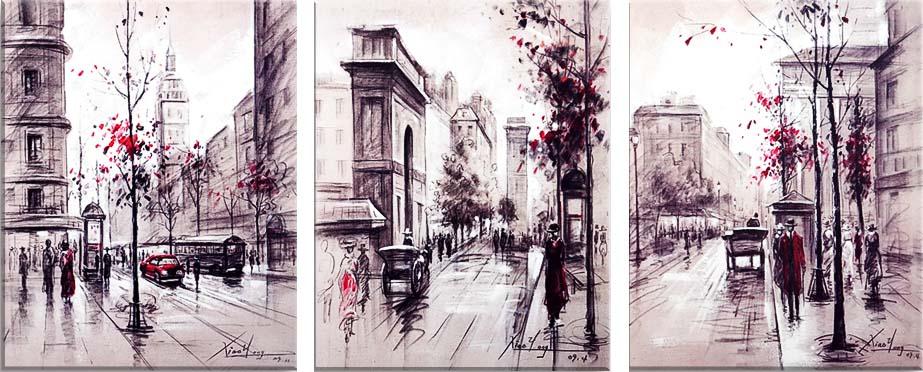 Картина Арт78 Улица, модульная, 120 см х 60 см. арт780047-2V-019Ничто так не облагораживает интерьер, как хорошая картина. Особенную атмосферу создаст крупное художественное полотно, размеры которого более метра. Подобные произведения искусства, выполненные в традиционной технике (холст, масляные краски), чрезвычайно капризны: требуют сложного ухода, регулярной реставрации, особого микроклимата – поэтому они просто не могут существовать в условиях обычной городской квартиры или загородного коттеджа, и требуют больших затрат. Данное полотно идеально приспособлено для создания изысканной обстановки именно у Вас. Это полотно создано с использованием как традиционных натуральных материалов (холст, подрамник - сосна), так и материалов нового поколения – краски, фактурный гель (придающий картине внешний вид масляной живописи, и защищающий ее от внешнего воздействия). Благодаря такой композиции, картина выглядит абсолютно естественно, и отличить ее от традиционной техники может только специалист. Но при этом изображение отлично смотрится с любого расстояния, под любым углом и при любом освещении. Картина не выцветает, хорошо переносит даже повышенный уровень влажности. При необходимости ее можно протереть сухой салфеткой из мягкой ткани.