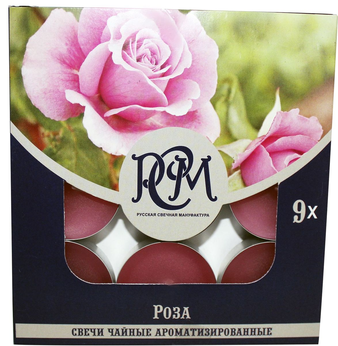 Свеча чайная Русская свечная мануфактура, роза, 9 штукБрелок для ключейСвечи ароматизированные