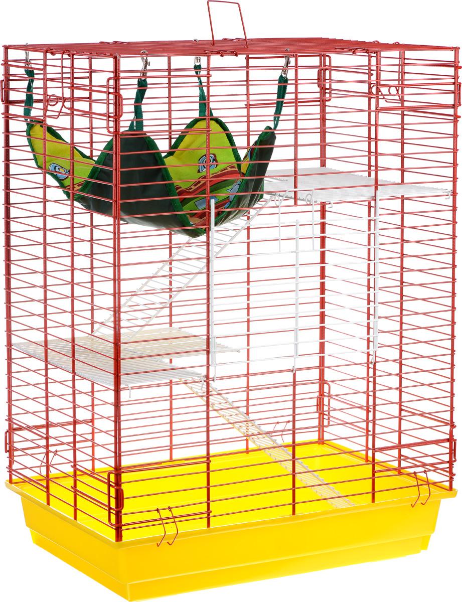 Клетка для шиншилл и хорьков ЗооМарк, цвет: желтый поддон, красная решетка, 59 х 41 х 79 см0120710Клетка ЗооМарк, выполненная из полипропилена и металла, подходит для шиншилл и хорьков. Большая клетка оборудована длинными лестницами и гамаком. Изделие имеет яркий поддон, удобно в использовании и легко чистится. Сверху имеется ручка для переноски. Такая клетка станет уединенным личным пространством и уютным домиком для грызуна.