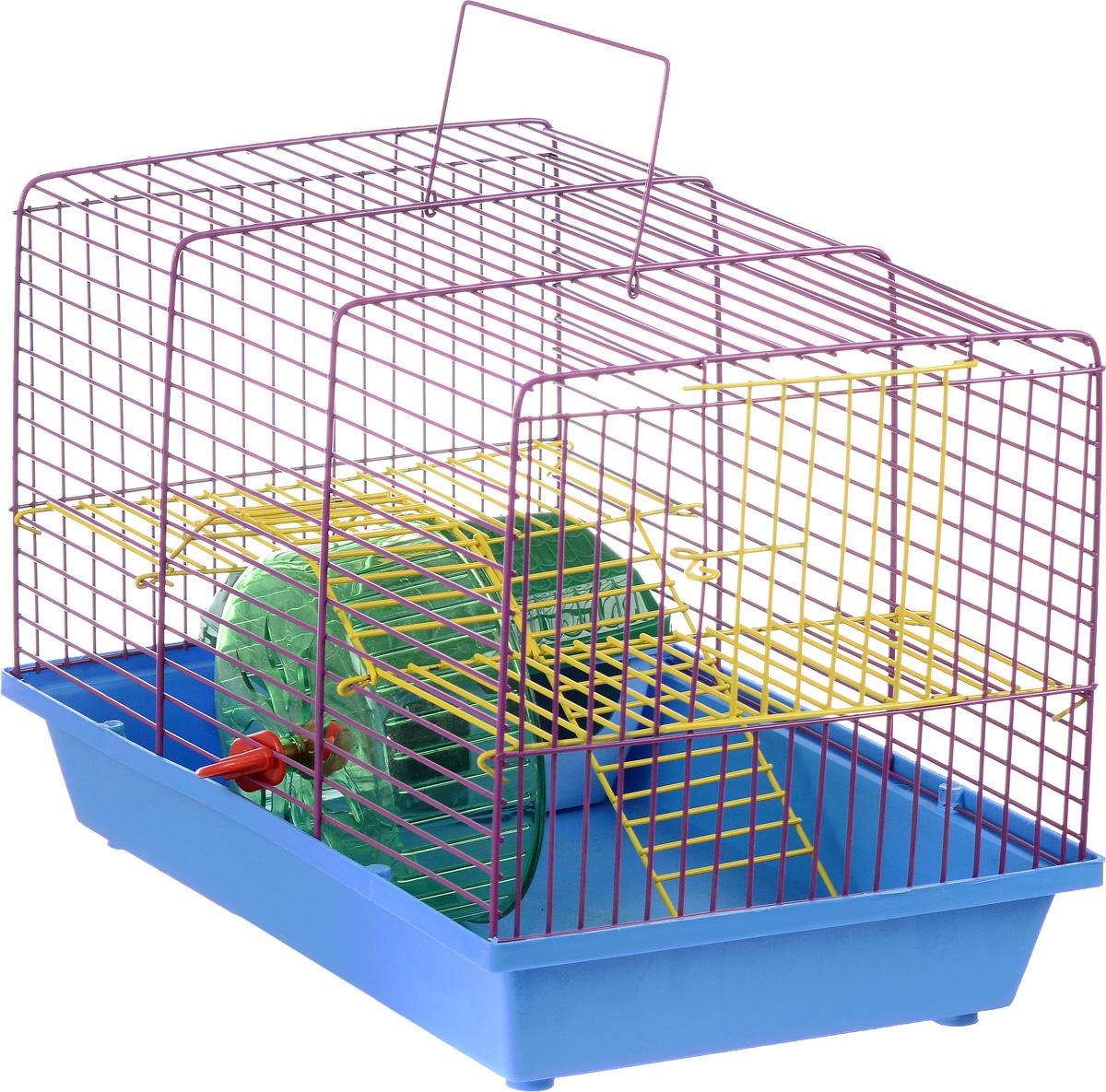 Клетка для грызунов Зоомарк Венеция, 2-этажная, цвет: голубой поддон, фиолетовая решетка, желтый этаж, 36 х 23 х 24 см0120710Клетка Венеция, выполненная из полипропилена и металла, подходит для мелких грызунов. Изделие двухэтажное, оборудовано колесом для подвижных игр и пластиковым домиком. Клетка имеет яркий поддон, удобна в использовании и легко чистится. Сверху имеется ручка для переноски. Такая клетка станет уединенным личным пространством и уютным домиком для маленького грызуна.