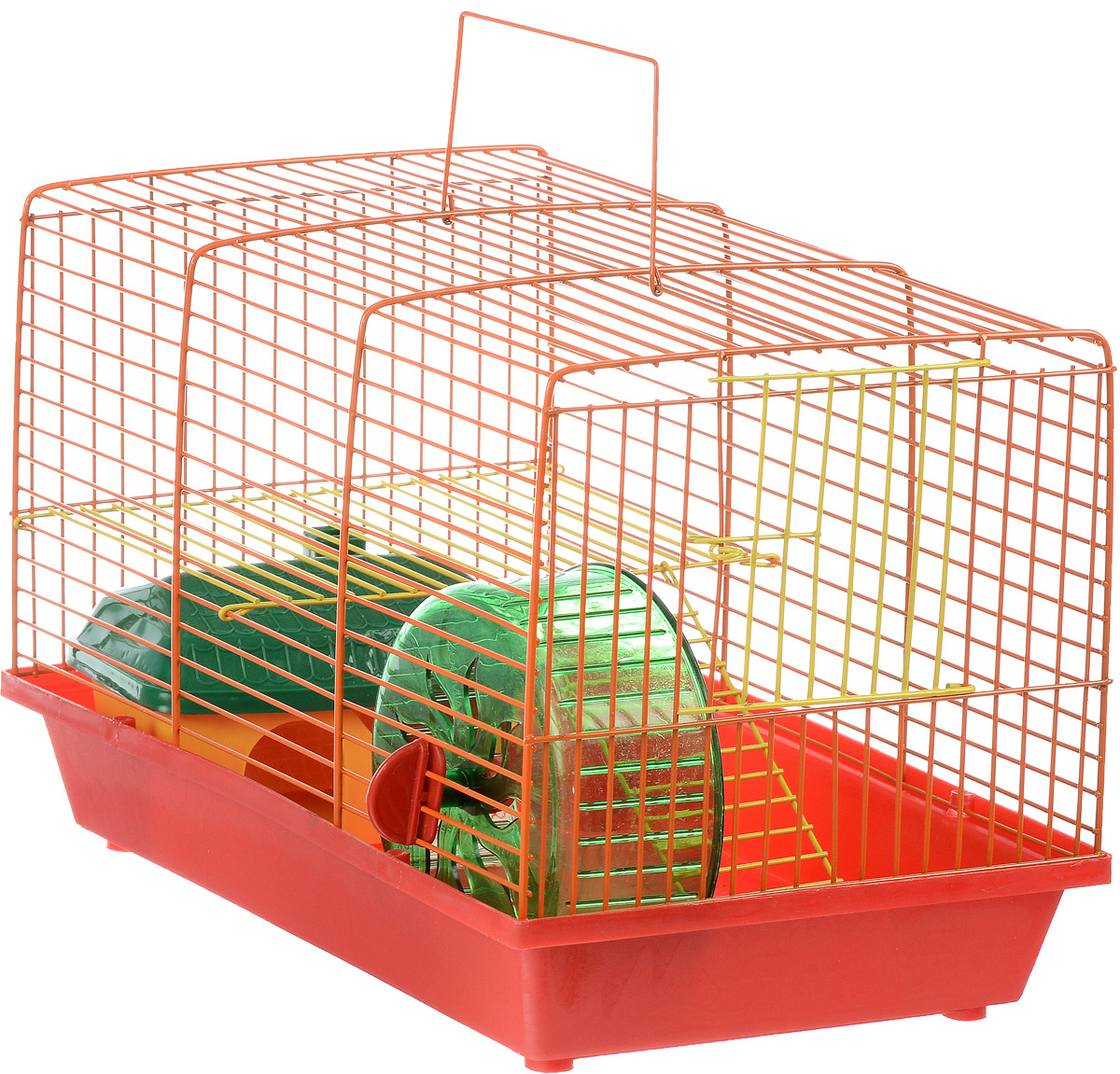 Клетка для грызунов ЗооМарк, 2-этажная, цвет: красный поддон, оранжевая решетка, желтый этаж, 36 х 22 х 24 см0120710Клетка ЗооМарк, выполненная из полипропилена и металла, подходит для мелких грызунов. Изделие двухэтажное, оборудовано колесом для подвижных игр и пластиковым домиком. Клетка имеет яркий поддон, удобна в использовании и легко чистится. Сверху имеется ручка для переноски, а сбоку удобная дверца. Такая клетка станет уединенным личным пространством и уютным домиком для маленького грызуна.