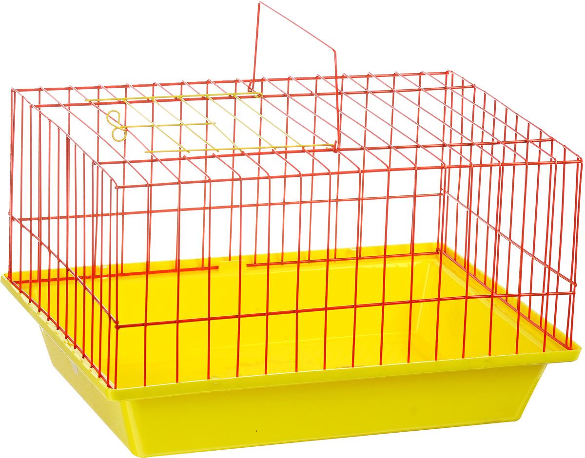 Клетка для морской свинки ЗооМарк, цвет: желтый поддон, оранжевая решетка, 41 х 30 х 25 см0120710Клетка ЗооМарк, выполненная из полипропилена и металла, подходит для морских свинок и других грызунов. Клетка имеет яркий поддон, удобна в использовании и легко чистится. Сверху имеется ручка для переноски. Такая клетка станет личным пространством и уютным домиком для вашего питомца.