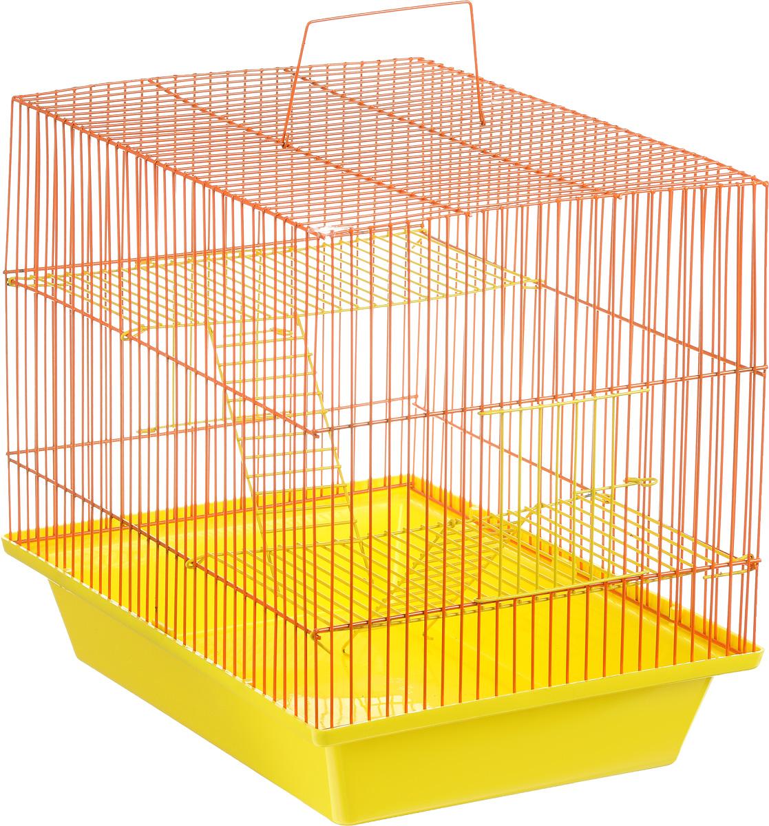 Клетка для грызунов ЗооМарк Гризли, 3-этажная, цвет: желтый поддон, оранжевая решетка, желтые этажи, 41 х 30 х 36 см. 230ж0120710Клетка ЗооМарк Гризли, выполненная из полипропилена и металла, подходит для мелких грызунов. Изделие трехэтажное. Клетка имеет яркий поддон, удобна в использовании и легко чистится. Сверху имеется ручка для переноски.Такая клетка станет уединенным личным пространством и уютным домиком для маленького грызуна.