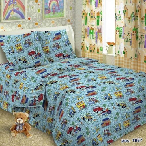 Комплект детского постельного белья Letto  Веселые машинки , 1,5-спальный, наволочка 50х70 -  Постельное белье