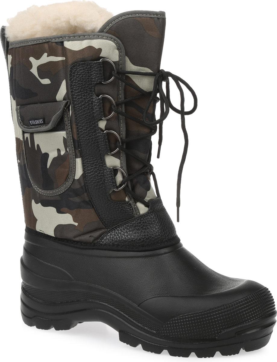 Сапоги зимние EVA Shoes Аляска (-40), цвет: черный, болотный камуфляж. Размер 45162Зимние сапоги EVA Shoes Аляска (-40) - это легкая, теплая и удобная обувь для зимней рыбалки и охоты. Галоша выполнена из ЭВА. Голенище изготовлено из прочного оксфорда. Внутри расположен съемный чулок из натурального меха с фольгой и спанбондом. На каждом из сапогов расположен небольшой кармашек на липучке. Шнурки помогают плотно прижимать сапог к ноге.