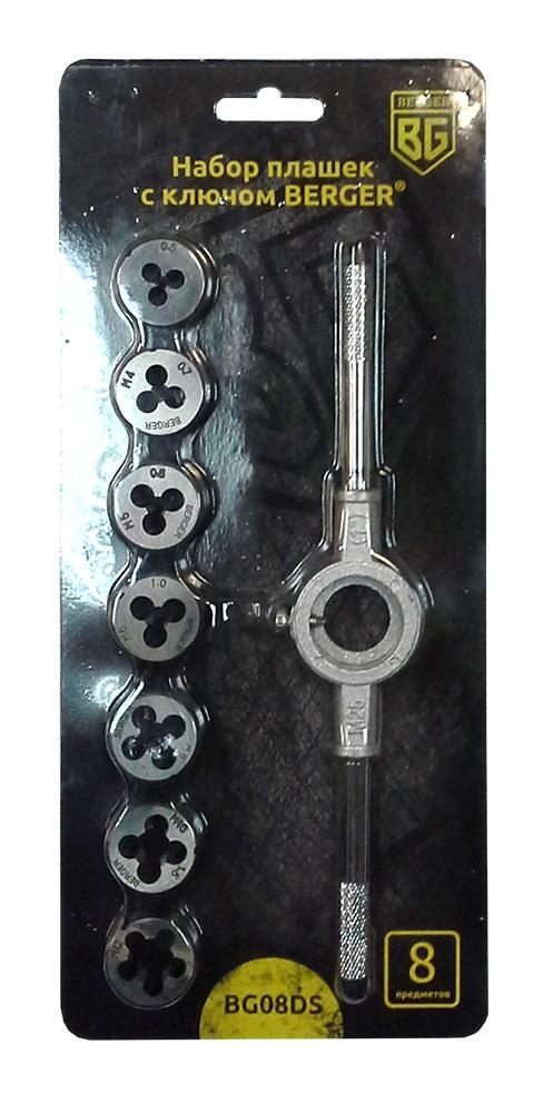Набор плашек Berger, с ключом, 8 предметов. BG08DS80623Набор плашек с ключом 8 предметов BERGER. 7 шт. - плашка метрическая: М3х0,5; М4х0,7; М5х0,8; М6х1,0; М8х1,25; М10х1,5; М12х1,25 мм. 1 шт. - ключ для плашек 25х9. Материал: легированная сталь 9XC (средняя твердость 61 HRC). Упаковка-блистер. Маркировка, нанесенная на блистерную упаковку облегчает идентификацию.