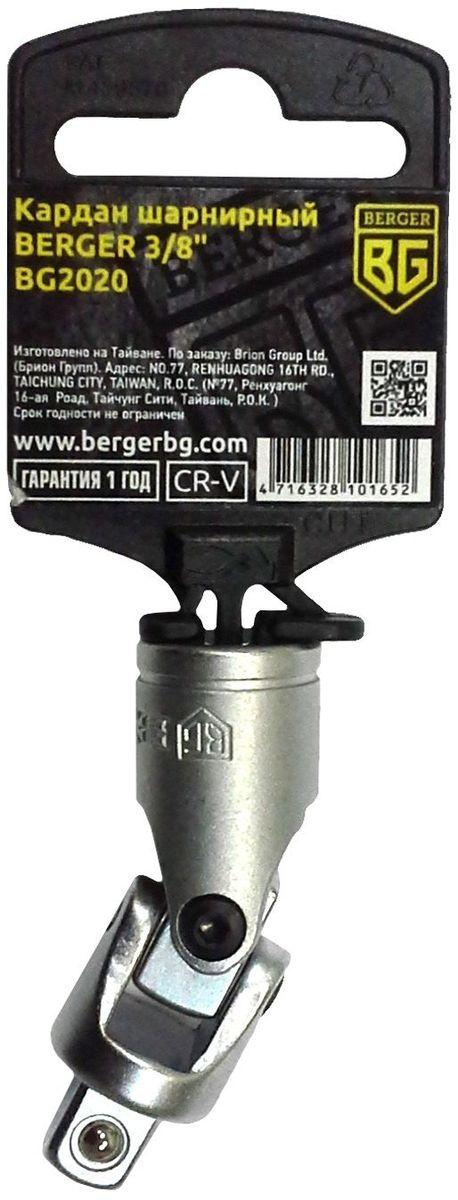 Кардан шарнирный Berger, 3/8, 58 мм. BG2020CA-3505Кардан шарнирный 3/8 58мм BERGER. Материал - хром-ванадиевая сталь (CR-V). Упаковка - пластиковый держатель. Конструкция шарнира оптимально подходит для использования его под определенным углом, а также в труднодосягаемых местах, где затруднительно применение другого инструмента.