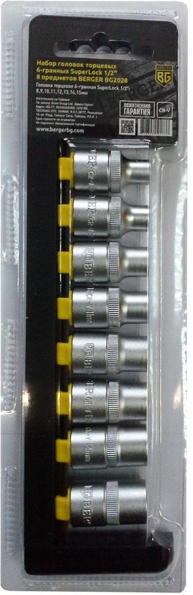 Набор головок торцевых Berger SuperLock, 6-гранных, 1/2, 8 предметов. BG202821395599Набор головок торцевых 6-гранных SuperLock 1/2 8 предметов BERGER. 8шт.- головка торцевая 6-гранная SuperLock 1/2: 8,9,10,11,12,13,14,15мм. Выполнен из прочной и качественной хром-ванадиевой стали (CR-V). Упаковка - пластиковый держатель.