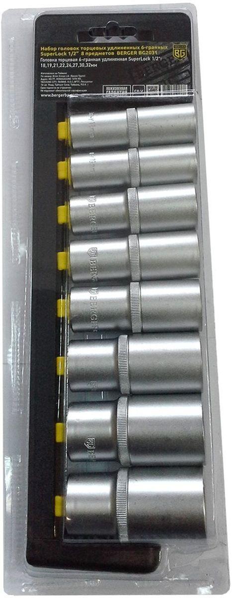 Набор головок торцевых Berger SuperLock, удлиненных, 6-гранных, 1/2, 8 предметов. BG2031RC-100BWCНабор головок торцевых удлиненных 6-гранных SuperLock 1/2 8 предметов. 8шт.- головка торцевая 6-гранная удлиненная Superlock 1/2: 18,19,21,22,24,27,30,32мм. Выполнен из прочной и качественной хром-ванадиевой стали (CR-V). Упаковка - пластиковый держатель.