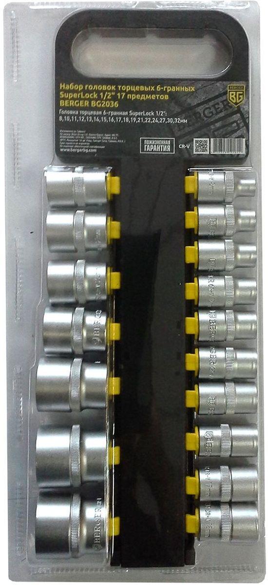 Набор головок торцевых Berger SuperLock, 6-гранных, 1/2, 17 предметов. BG2036CA-3505Набор торцевых головок Berger SuperLock предназначен для строительных работ при сборке металлоконструкций, мебели и других работах с крепежной оснасткой. В набор входит 17 головок диаметрами: 8 мм, 10 мм, 11 мм, 12 мм, 13 мм, 14 мм, 15 мм, 16 мм, 17 мм, 18 мм, 19 мм, 21 мм, 22 мм, 24 мм, 27 мм, 30 мм, 32 мм.