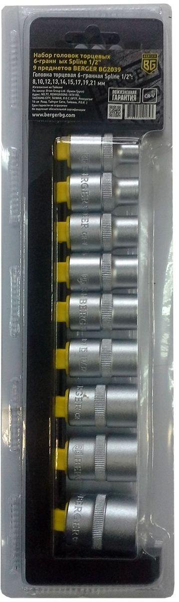 Набор головок торцевых Berger Spline, 6-гранных, 1/2, 9 предметов. BG203921395599Набор головок торцевых 6-гранных Spline 1/2 9 предметов BERGER. 9шт.-головка торцевая 6-гранная Spline 1/2: 8,10,12,13,14,15,17,19,21 мм. Выполнен из прочной и качественной хром-ванадиевой стали (CR-V). Упаковка - пластиковый держатель.