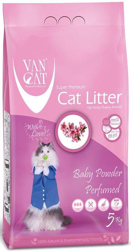 Наполнитель для кошачьих туалетов Van Cat, комкующийся, без пыли, с ароматом детской присыпки, 5 кг0120710Наполнитель для кошачьего туалета Van Cat эффективно удерживает запах, а специальный ароматизатор подарит вашему дому приятный аромат детской присыпки. Подходит для кошек, которые чувствительны или аллергичны к запахам. Обладает высокой абсорбцией, отлично комкуется, не пылит, лапы остаются чистыми.Не прилипает к лапам и шерсти. Не содержит химических примесей. Безопасен для животных и окружающей среды. Сохраняет лоток сухим, прост в уборке. Размер гранул: 0,6-2,25 мм. Товар сертифицирован.