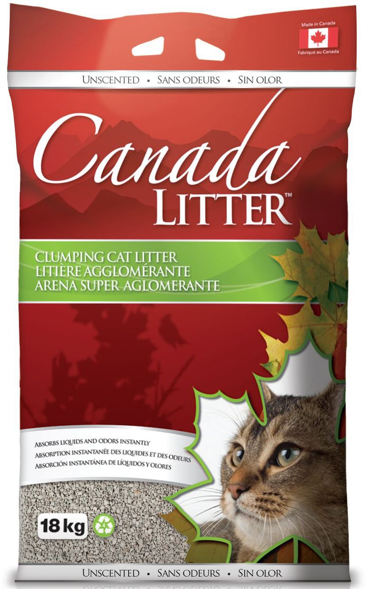 Наполнитель для кошачьих туалетов Canada Litter Запах на Замке, комкующийся, с ароматом детской присыпки, 18 кг0120710Комкующийся наполнитель Canada Litter - канадский наполнитель супер-премиум класса.Наполнитель Canada Litter Запах на замке изготовлен из натриевого бентонита и производится в Канаде. Наполнитель впитывает 350% влаги (в 3,5 раза больше собственного веса).Специальные гранулы напоминают кошке ее естественную среду.Обладает высокой впитывающей и комкующей способностью.Результат заметен мгновенно – при увлажнении сразу образуется плотный комочек.Мягкий приятный аромат детской присыпки, едва заметный для кошки, устраняет и контролирует запах.Бентонит - высокачественная глина, которая быстро поглощает запахи, легко комкуется в большие твердые комочки и весьма экономична в расходовании. Инструкция по применению: 1. Наполните чистый лоток кошачьего туалета Комкующимся наполнителем Canada Litter слоем в 10-12 см. 2. Ежедневно удаляйте совком образовавшиеся комочки. 3. Добавляйте необходимое количество наполнителя, чтобы восполнить содержимое туалета. 4. НИ В КОЕМ СЛУЧАЕ НЕ ВЫБРАСЫВАЙТЕ В УНИТАЗ!