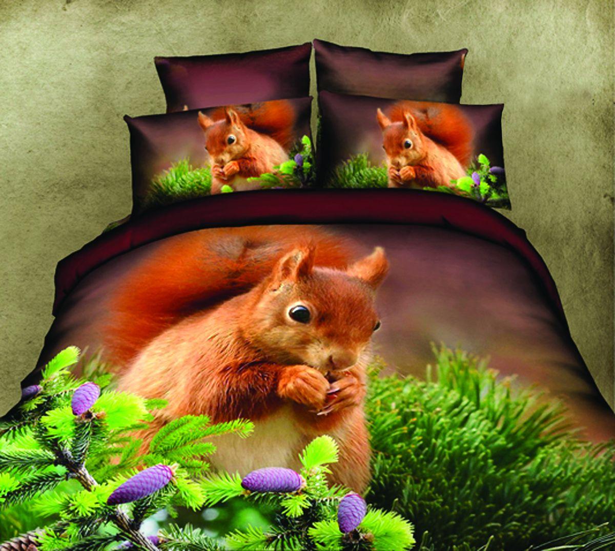 Комплект белья Guten Morgen Белка, 2-спальный, наволочки 70х70RC-100BWCКомплект постельного белья Guten Morgen Белка, изготовленный из сатина (100% хлопка), являющегося экологически чистым продуктом, поможет вам расслабиться и подарит спокойный сон. Комплект состоит из пододеяльника, простыни и двух наволочек. Предметы комплекта оформлены изображением белки. Постельное белье имеет и привлекающий внешний вид и обладает яркими, сочными цветами. Благодаря такому комплекту постельного белья вы сможете создать атмосферу уюта и комфорта в вашей спальне.