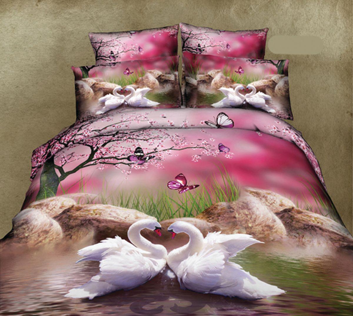 Комплект белья Guten Morgen Лебеди, 1,5-спальный, наволочки 70х70RC-100BWCКомплект постельного белья Guten Morgen Лебеди, изготовленный из сатина (100% хлопка), поможет вам расслабиться и подарит спокойный сон. Комплект состоит из пододеяльника, простыни и двух наволочек.Благодаря такому комплекту постельного белья вы сможете создать атмосферу уюта и комфорта в вашей спальне.