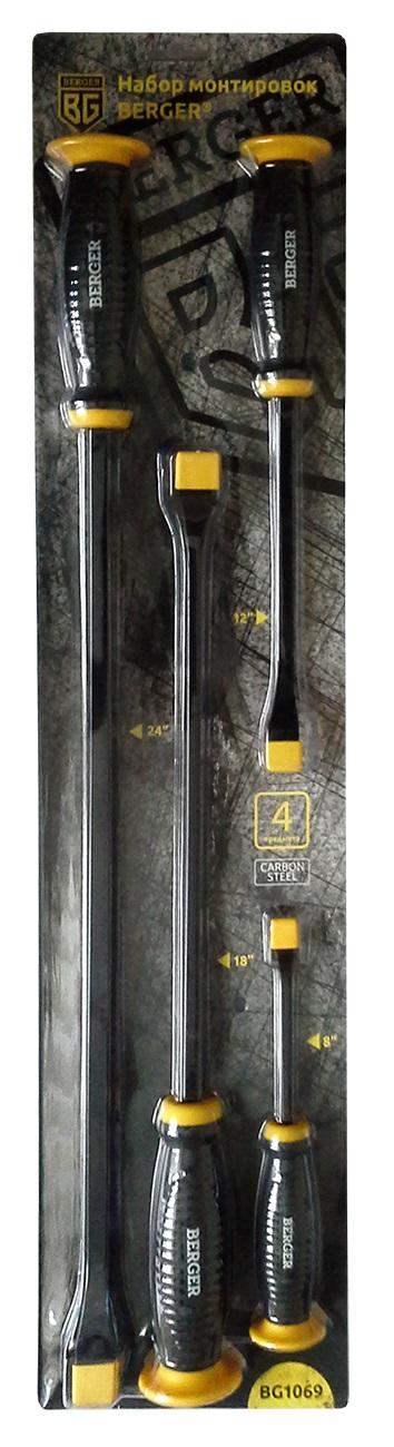 Набор монтировок Berger, 4 предмета. BG106921395599Набор монтировок 4 предмета BERGER. 4 шт. – монтировка: 8, 12, 18, 24. Материал: Углеродный Карбон (Carbon Steel). Блистерная упаковка. Большая резиновая площадка защищает руку при работе с ударным инструментом. Эргономичная резиновая ручка удобно помещается в руке и не скользит при работе. Выполнен из твердой закалённой стали. Квадратный стальной стержень выдерживает высокие нагрузки. Плоский и заостренный наконечник позволяет использовать инструмент в труднодоступных местах.