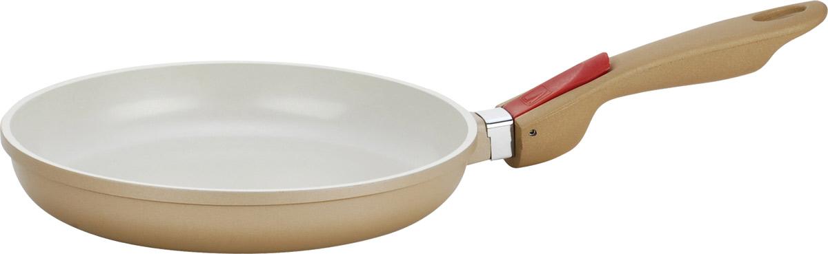 Сковорода Vitesse Frypan, со съемной ручкой, с антипригарным покрытием. Диаметр 24 смFS-80299Сковорода Vitesse Frypan из экологически безопасного алюминия с антипригарным покрытием идеально подходит для приготовления пищи с применением минимального количества масла и жиров. Слой антипригарного покрытия на внутренней поверхности посуды полностью устраняет пригорание пищи и ее прилипание к стенкам посуды. Обжаренная в этой посуде пища отлично сохраняет свои вкусовые качества и имеет привлекательный, аппетитный вид.Сковорода оснащена съемной ручкой качественного пластика.Подходит для всех видов плит, кроме индукционных. Можно мыть в посудомоечной машине.Диаметр сковороды (по верхнему краю): 20 см.Высота стенки: 4 см.Длина ручки: 19,5 см.
