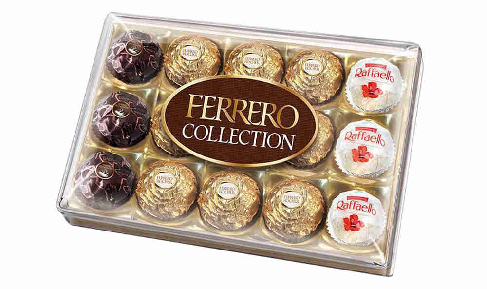 Ferrero Collection набор конфет: Raffaello, Ferrero Rocher, Ferrero Rondnoir, 172,2 г77115585/77098331/77086158Собрание 3 великолепных вкусов Ferrero: сочетание лесного ореха и молочного шоколада в Ferrero Rocher, изысканный рецепт горького шоколада и миндального ореха в Ferrero Rondnoir и совершенный вкус фисташек вRaffaello.