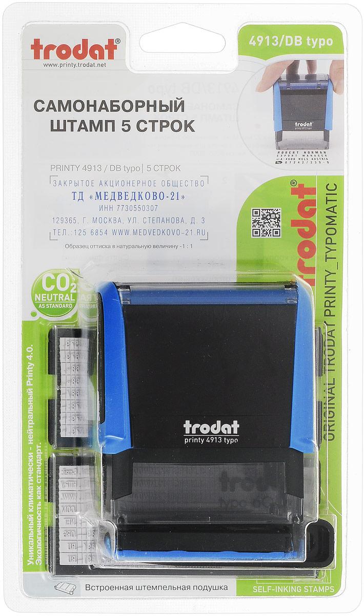 Trodat Штамп самонаборный пятистрочный цвет синий черный 58 мм х 22 мм -  Штемпельная продукция