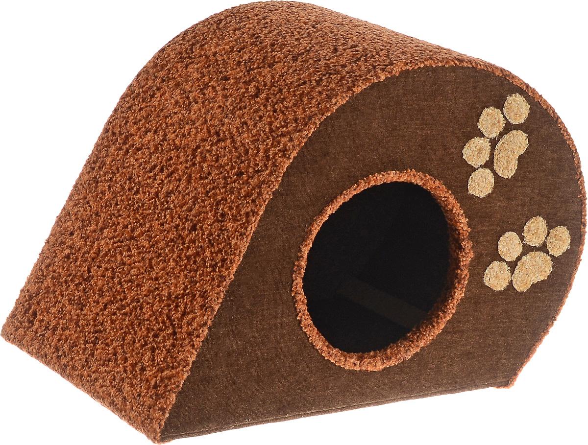 Домик для животных Неженка Капля, цвет: коричневый, бежевый, 50 х 33 х 34 см7331Большой, уютный домик Капля, выполненный из ДСП, обитый тканью, отлично подойдет для вашего любимца. Такой домик станет не только идеальным местом для сна вашего питомца, но и местом для отдыха. Для максимального комфорта наружные части обтянуты мягкой тканью. Изделие имеет большой вход.Удобный и мягкий, он станет не только отличным домиком для вашего любимца, но еще и оригинальным украшением интерьера.Диаметр входа 17 см.