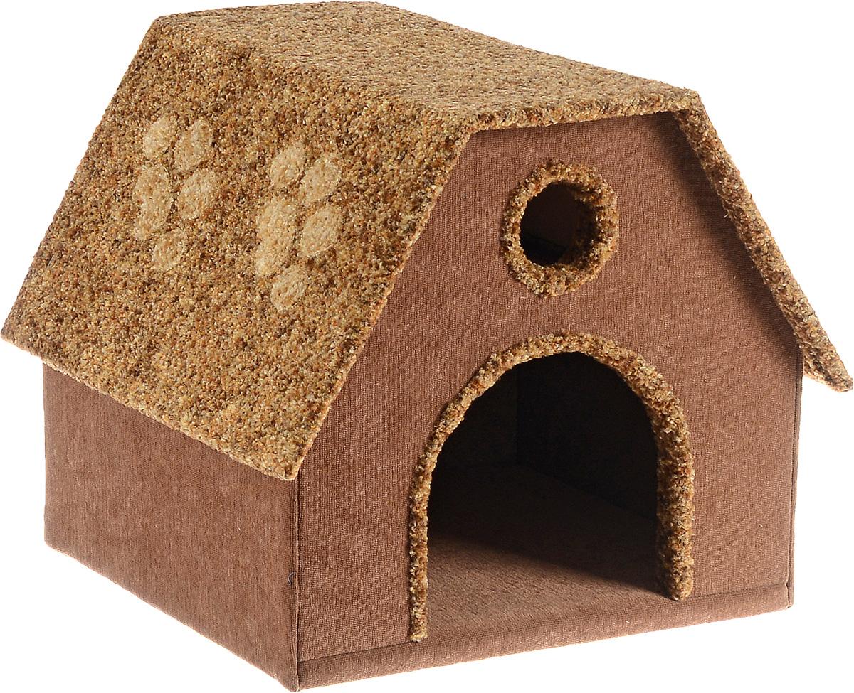 Домик для животных Неженка Будка, цвет: коричневый, бежевый, 41 х 36 х 35 см0120710Большой, уютный домик Будка, выполненный из ДСП, обитый тканью, отлично подойдет для вашего любимца. Такой домик станет не только идеальным местом для сна вашего питомца, но и местом для отдыха. Для максимального комфорта наружные части обтянуты мягкой тканью. Изделие имеет большой вход.Удобный и мягкий, он станет не только отличным домиком для вашего любимца, но еще и оригинальным украшением интерьера.