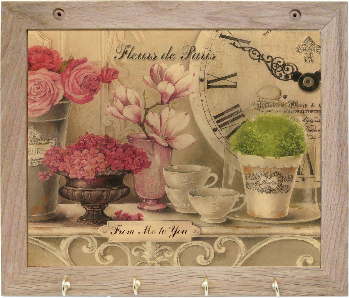 Вешалка GiftnHome Парижские цветы, с 4 крючками, 20 х 25 см1092019Вешалка GiftnHome Парижские цветы в стиле Art-Casual изготовлена из натурального дерева в комбинации с модными цветными принтами на корпусе от Креативной студии AntonioK. Вешалка снабжена 4 металлическими крючками для подвешивания аксессуаров, полотенец, прихваток и другого текстиля. Это изделие больше, чем просто вешалка, оно несет интерьерное решение, задает настроение и стиль на вашей кухне, столовой или дачной веранде. Art-Casual значит буквально повседневное искусство. Это новый стиль предложения обычных домашних аксессуаров в качестве элементов, задающих стиль и шарм окружающего пространства. Уникальное сочетание привычной функциональности и декоративной, интерьерной функции - это актуальная, современная тенденция от прогрессивных производителей товаров для дома.